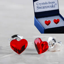 925 Sterling Silver Stud Ear Flat Heart Light Siam 6mm Crystals from Swarovski®