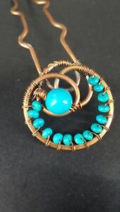 Copper Wire & Turquoise Hair Pin - Vintage VC004sx