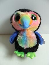 """NWT TY Beanie Boos 6"""" BEAKS Toucan Plush Boo Tie Dye Sparkly Eyes Black Bird NEW"""