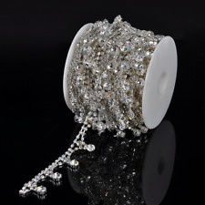 1 Yard Clear Crystal Rhinestone Chain Sewing Costume Applique Bridal Dress DIY