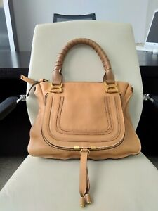 100% Authentic CHLOE Marcie bag Sand color leather Large size