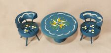 Vintage Dollhouse wood furniture lot-3, Chairs and Table - painted