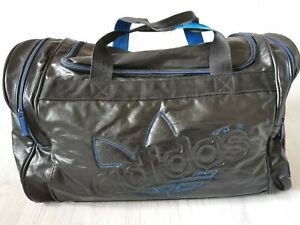RARE VINTAGE RETRO ADIDAS SPORTS GYM BAG HOLDALL 80S 90S BLACK BLUE WEST GERMANY
