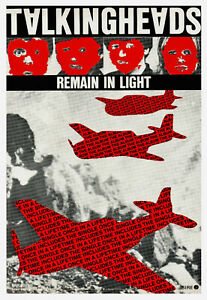 TALKING HEADS POSTER. REMAIN IN LIGHT. A3 repro.