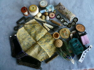 COLLECTION OF ANT/VINTAGE SEWING BOX TOOLS, TEXTILES,HABERDASHERY & ODD BITS (3)