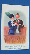 Vintage Fred Spurgin Comic Postcard 1911 Hat Pin Fashion Church Hymn Book Theme