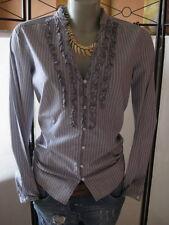 Esprit schöne Bluse Hemd 40-M Grau -Weiß & Klassisch