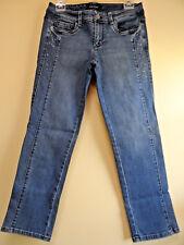 White House Black Market Blanc Size 4 Slim Crop Embellished Blue Jeans NWOT