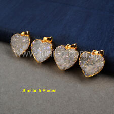 5Pcs Natural Druzy Agate Titanium AB Heart Pendant Gold Plated Valentine GG0389