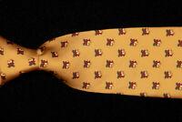 BROOKS BROTHERS Tie, Christmas Bells on Saffron Gold Silk Twill USA