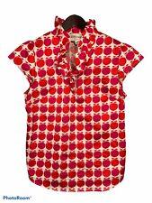 Elizabeth McKay Women's Blouse Size 10 Peach Print Pink Orange Ruffled Neck Zip
