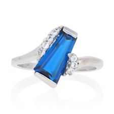 2.14ctw Synthetic Blue & White Spinel Ring - 10k Gold Women's Bypass