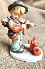 hummel puppy love/ boy with fiddle/dog/ signed
