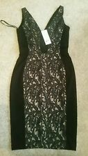 FCUK FRENCH CONNECTION DRESS black lace detail bodycon. size 8. RPR £110.