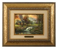 Thomas Kinkade Mountain Retreat Framed Brushwork (Gold Frame)