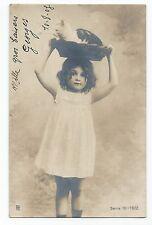 BP056 Carte Photo vintage card RPPC enfant jeune fille chat panier fun funny