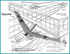 """Model Airplane Plans (FF/RC): Flying Wing 56"""" Wingspan for 1/2A (Air Trails '51)"""