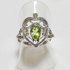 Antik Style Peridot Saat Perlen Herz Ring 925er Sterlingsilber 52 (16,5 mm Ø)