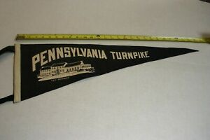 PENNSYLVANIA TURNPIKE FULL SIZE PENNANT 'THE MIDWAY' WHITE ON NAVY GOOD