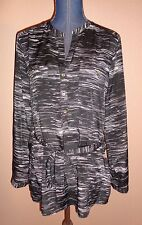 Calvin Klein Black White Roll Up Sleeves Henley Top with Belt Ties Size M