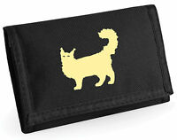Wallet, Crazy Fluffy Cat, Maine Coon Cats, with Silhouette Design Birthday Gift