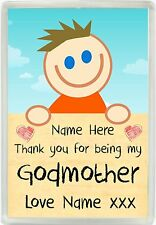 Personalised Boys Thank You For Being My Godmother Magnet Christening Gift 832