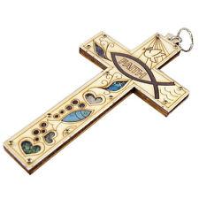 Handmade Olive Wood Cross with Blessed Gemstones, Inscription Faith & Fish 20cm