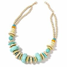 Designer Inspired-Beige and Turquoise Colour Beads Necklace (Size 24 )