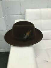 Selentino Gino Fedora Hat 100% Extra Fine Suede Fur Felt Brown Size 58 USA 7 1/4