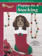 Puppy In A Stocking Plastic Canvas Christmas Wall Hanging Holly Cute Rare Find