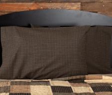 KETTLE GROVE Standard Pillow Case Set/2 Black/Tan Micro Check Plaid Primitive