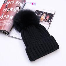 1dc00468077 Winter Hat 15cm Real Fox Fur Pom Pom Knit Beanie Hat Female and Child