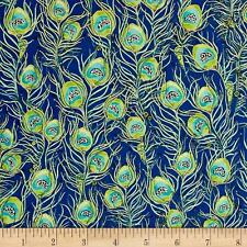 Blue Metallic Pretty as a Peacock Feathers Quilting Treasures Fabric 1/2 Yard