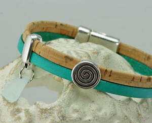 NEW! Tan Cork and Turquoise Leather Silver-Plated Wrap Bracelet