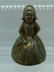 Vintage Brass Dutch Lady Bell Small Solid Early 20th Century Brass Clapper