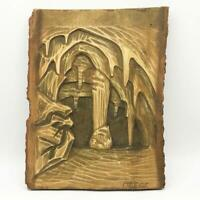 Vintage Wood Carving Sculpture Plaque Folk Art Andrej Vilhar Yugoslavia