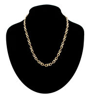"""Gold Tone Square Links Chain Collar Necklace Vintage 1980s 18"""""""