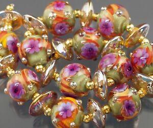 FRISKEY handmade Lampwork Glass Beads, GOLDEN AUTUMN !!!