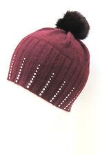 Portolano 100% CASHMERE Woman's Ladies Hat Beret Beanie Crystals WINE Burgundy