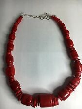 Jay King Graduating Red Coral Barrel Bead & Disc Necklace