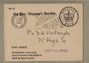 GB UK 1962 OHMS Official Paid Small Cover Wickenham to Middlesex