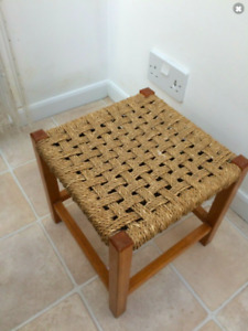 Vintage small Wooden Woven rattan Seagrass Seat Country Rustic rush foot Stool