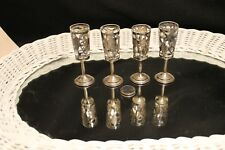 VTG 4-PC SET OF CHALICE COMMUNION CUPS LATTICED .925 OUTER SHELL GLASS INSERT