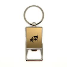 Porte clé en métal or brossé Chien de chasse 3 décapsuleur gravure laser