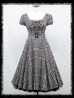 dress190 GREY TARTAN CHECK CAP SLEEVE 50's 60's ROCKABILLY  VINTAGE PARTY DRESS