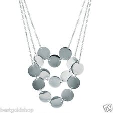 Stainless Steel Layered 3 Row Round Disc Graduated Chain Necklace