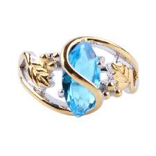 Women Imitation Diamond Ring Gold Plated Stone Sea Blue Ring Jewelry Gift ONE