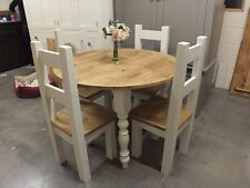 "ROUND 42"" RECLAIMED PAINTED TABLE HANDMADE BESPOKE SIZES & COLOURS F&B ALL WHITE"