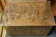 VINTAGE EMBOSSED STABLES & HORSE RIDING BRASS FIRESIDE LOG BOX COAL SCUTTLE