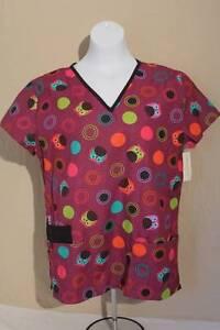 NEW Womens Medical Scrubs Top Plus 1X Doctor Nurse Dentist Uniform Purple Owls